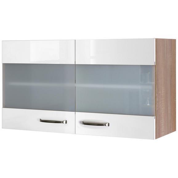 Küchenoberschrank Weiß Hochglanz/Eiche - Edelstahlfarben/Eichefarben, MODERN, Holzwerkstoff/Metall (100/54/32cm) - FlexWell.ai