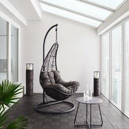 Hängesessel Rosi - Dunkelgrau, MODERN, Kunststoff/Textil (95/196/96cm) - Bessagi Garden