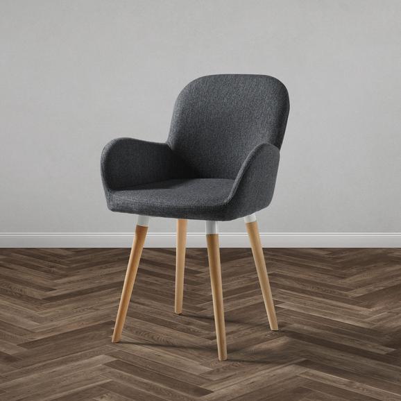Stuhl Anne - Dunkelgrau/Buchefarben, MODERN, Holz/Textil (54/80/56cm) - Modern Living