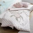 Lenjerie De Pat Pentru Copii Monkey Wende - roz aprins/alb, textil (100/135cm) - Modern Living