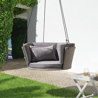 Hängesessel Coby inkl. Auflagen und Kissen - Grau, MODERN, Kunststoff/Textil (92/38cm) - Modern Living