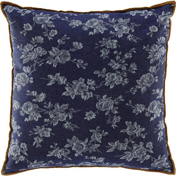 Kissen in Blau 'Milane' ca. 40x40cm - Blau/Braun, MODERN, Textil (40/40cm) - Bessagi Home