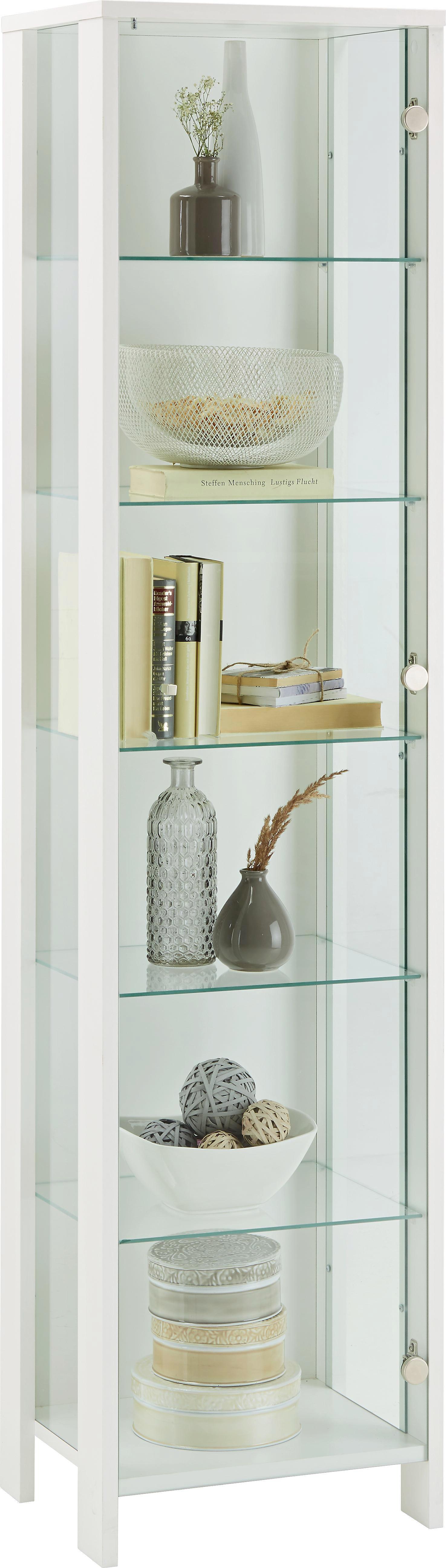 Vitrine in Weiß - Alufarben/Weiß, MODERN, Glas/Holzwerkstoff (44/183/37cm) - MÖMAX modern living