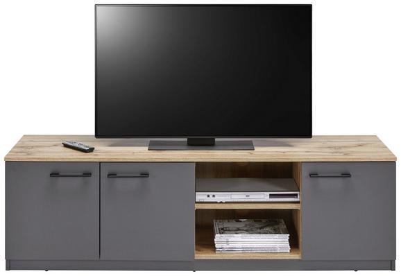 Lowboard in Grau/Eichefarben - Eichefarben/Schwarz, MODERN, Holzwerkstoff/Kunststoff (160/48/45cm) - MÖMAX modern living