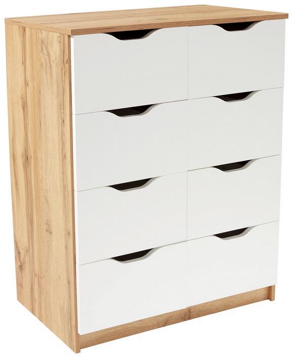 Komód West 8 - tölgy színű/fehér, modern, faanyagok (78/92/40cm)