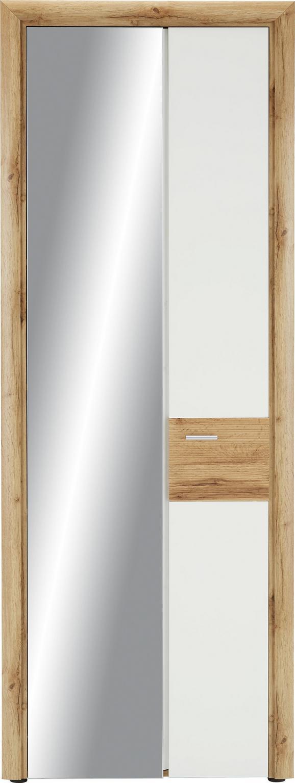 Garderobenschrank in Weiß/Eiche - Eichefarben/Silberfarben, MODERN, Holzwerkstoff/Kunststoff (75/202/38cm) - PREMIUM LIVING