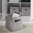 Box Rikka Rikka - Grau, MODERN, Textil (27/27/28cm) - Bessagi Home