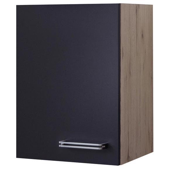 Küchenoberschrank Anthrazit/Eiche - Edelstahlfarben/Eichefarben, MODERN, Holzwerkstoff/Metall (40/54/32cm) - FlexWell.ai