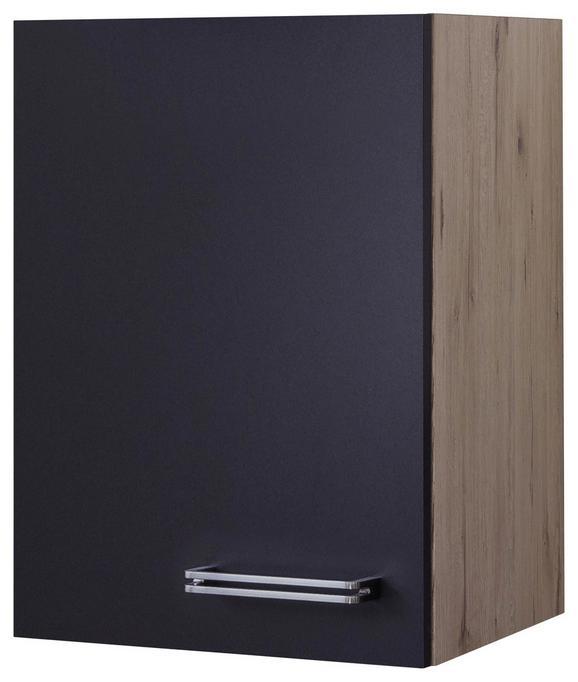 Küchenoberschrank Anthrazit/Eiche - Edelstahlfarben/Eichefarben, MODERN, Holzwerkstoff/Metall (40/54/32cm)