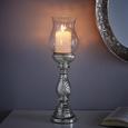 Kerzenhalter Charlott inkl. Glas H ca. 46 cm - Klar/Silberfarben, KONVENTIONELL, Glas/Metall (13/46cm) - Mömax modern living