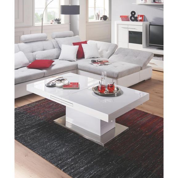 Couchtisch in Weiß Hochglanz - Edelstahlfarben/Weiß, MODERN, Holzwerkstoff/Metall (133/170/47,5/75/80cm) - Premium Living