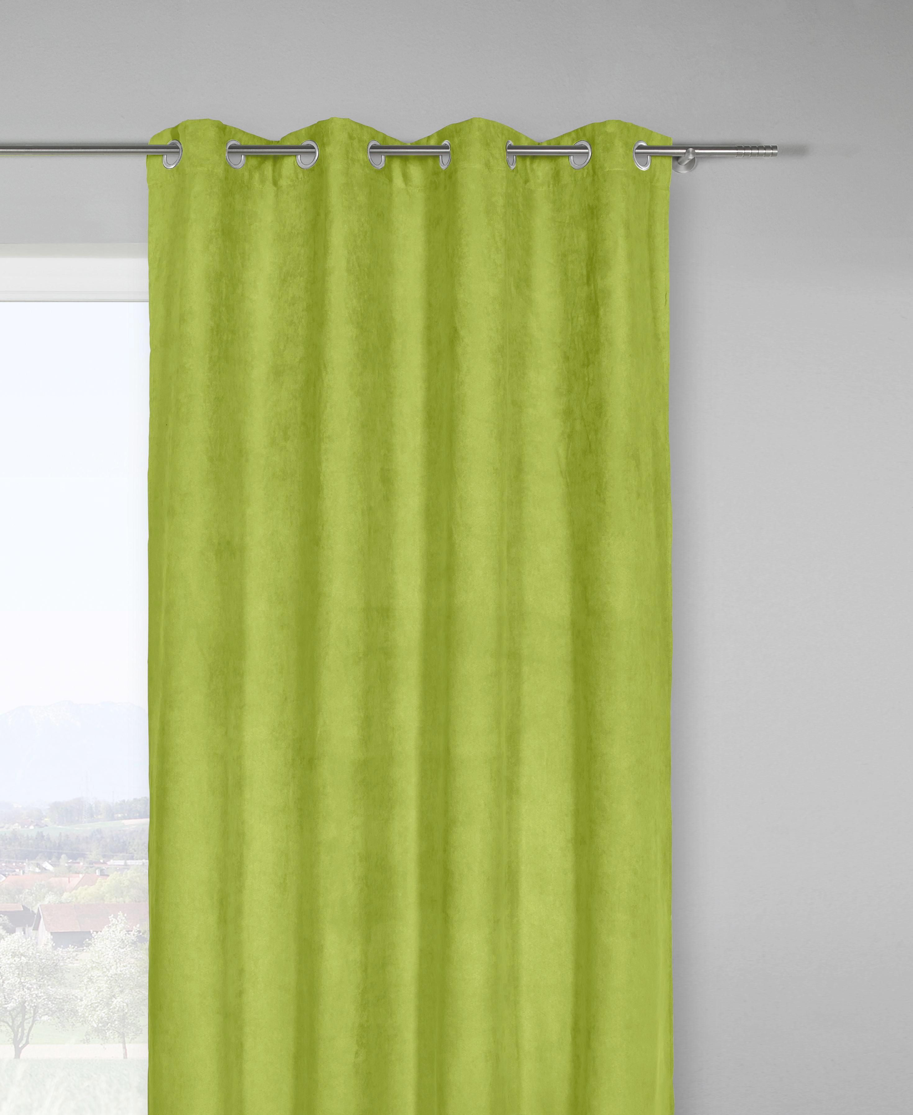 Fertigvorhang Velours ca. 140x245cm - Grün, KONVENTIONELL, Textil (140/245cm) - MÖMAX modern living