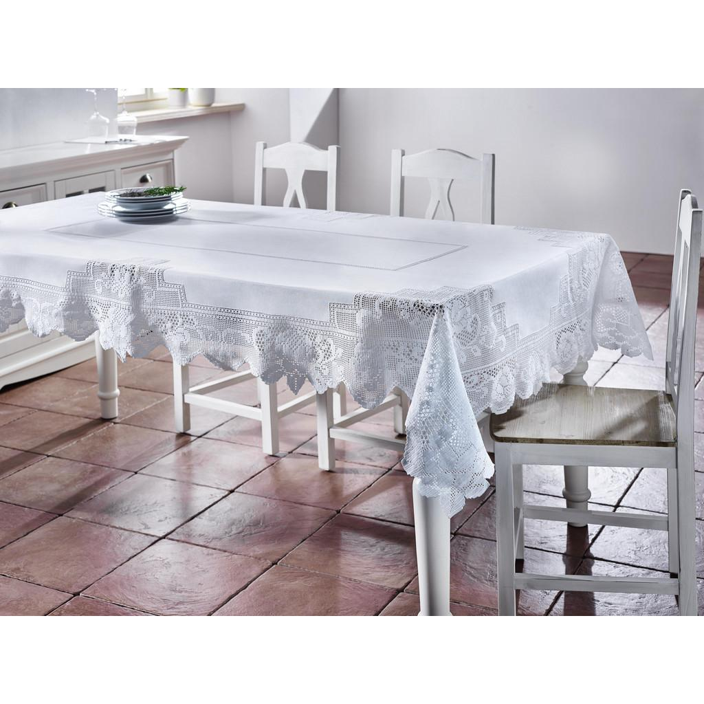 Tischdecke in Weiß ca.220/130cm ''Constance''