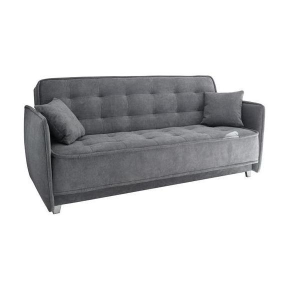 Sofa mit Schlaffunktion in Anthrazit 'Aron' - Anthrazit/Silberfarben, MODERN, Holzwerkstoff/Kunststoff (216/95/95cm) - Livetastic