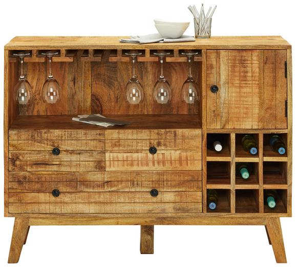 Bar Mangoholz - Schwarz/Naturfarben, LIFESTYLE, Holz/Metall (115/90/35cm) - Zandiara
