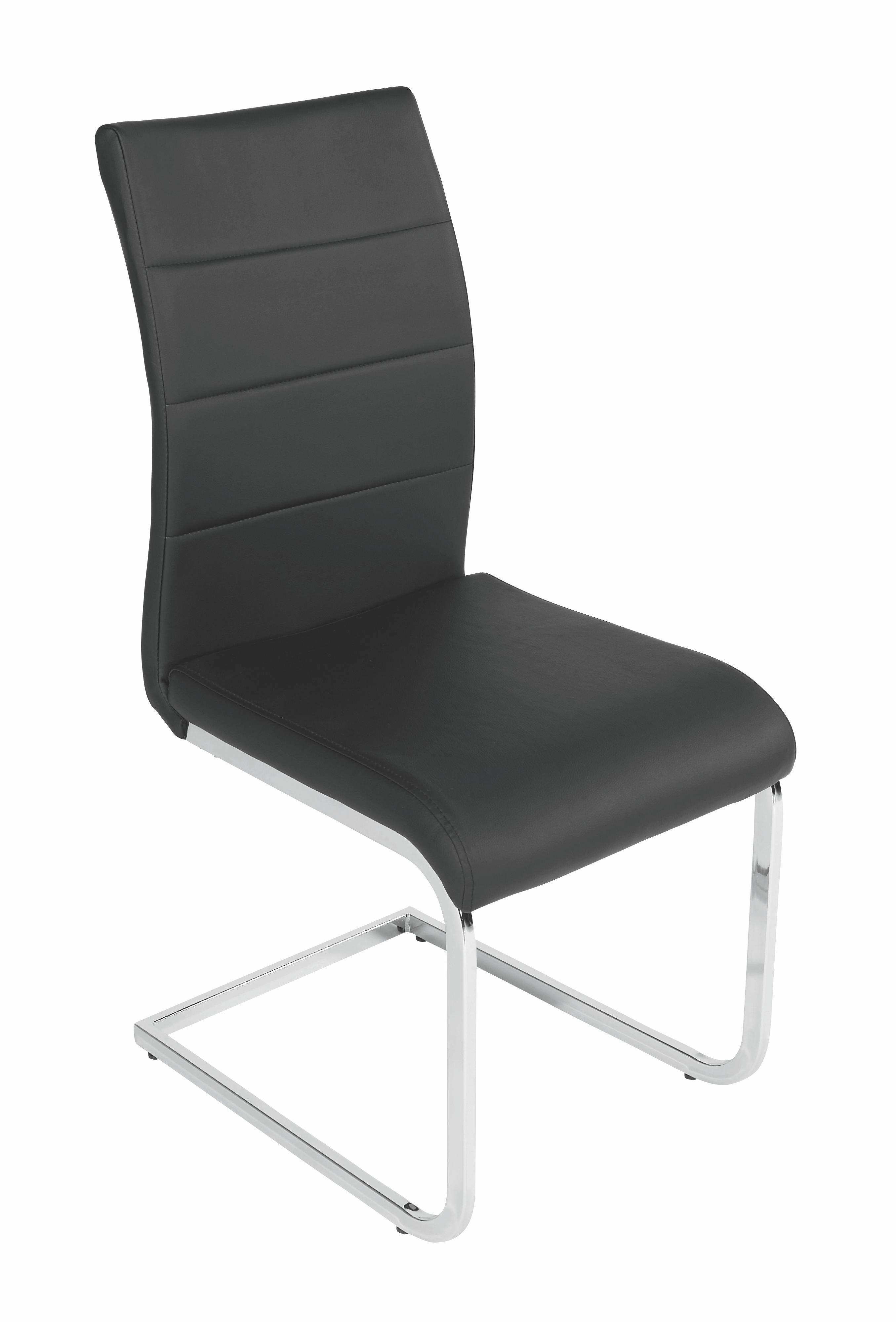 Étkezőszék Carola - krómszínű/fekete, modern, textil/fém (44/97/59cm)