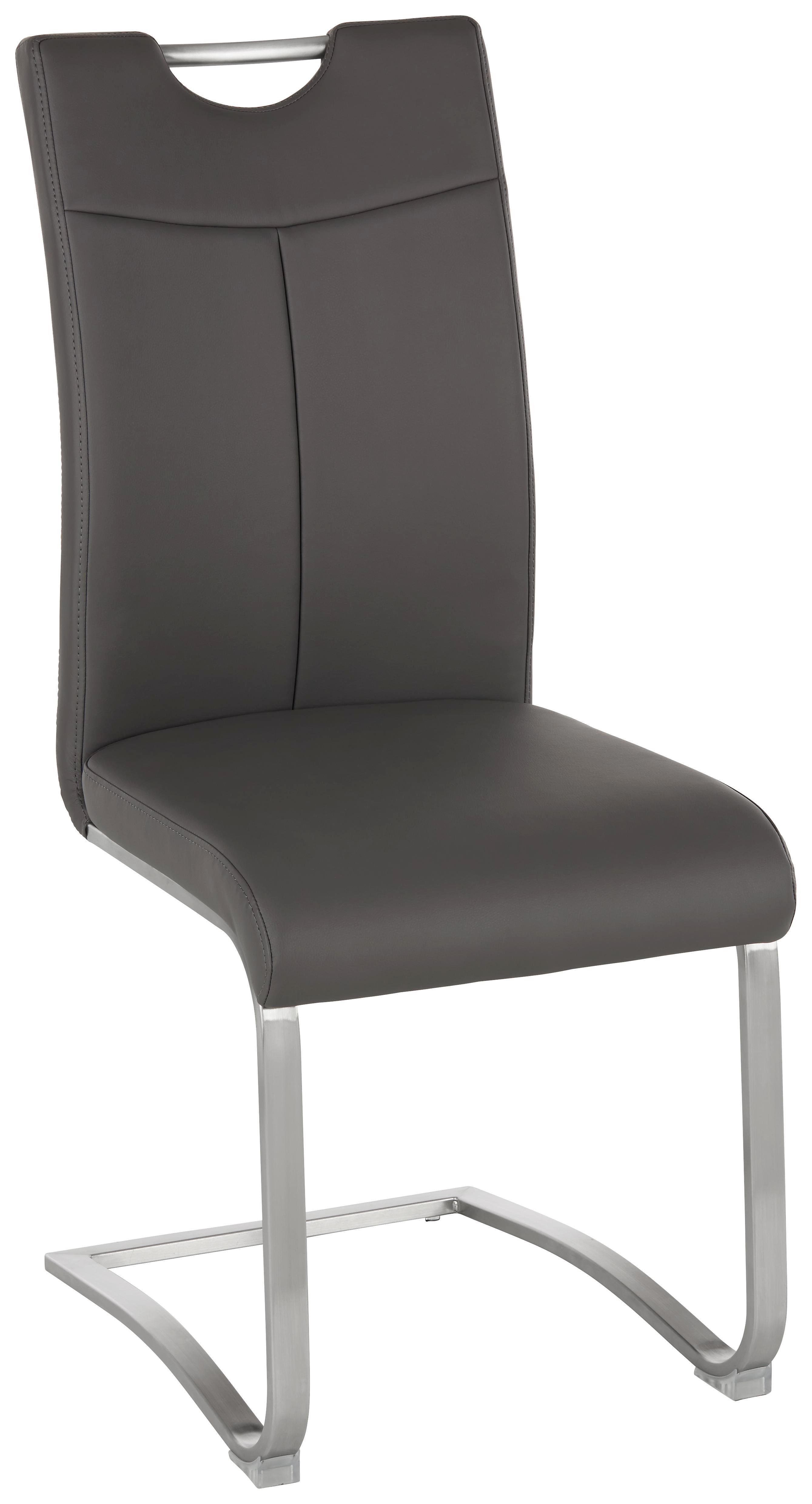 Schwingstuhl in Grau/edelstahlfarben - Edelstahlfarben/Grau, MODERN, Textil/Metall (45/101/59cm) - PREMIUM LIVING