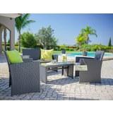 Lounge Garnitúra Michelle - sötétszürke/szürke, műanyag/üveg - MÖMAX modern living