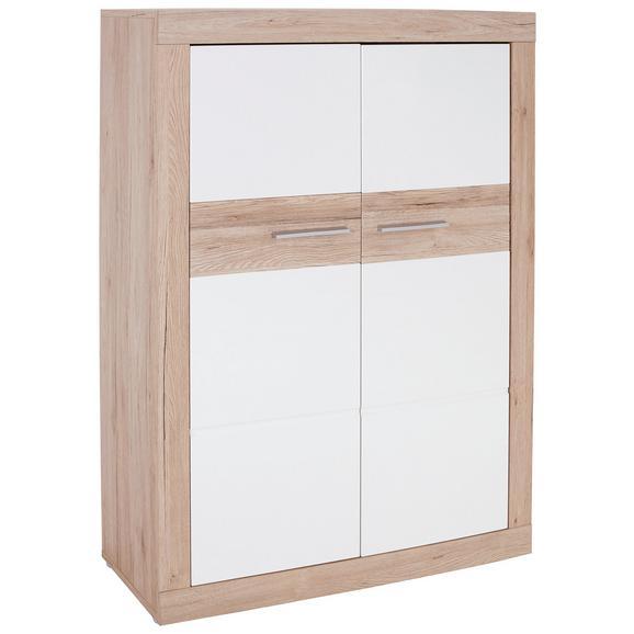 Comodă Înaltă Malta - alb/culoare lemn stejar, Modern, plastic/lemn (96/132/35cm)