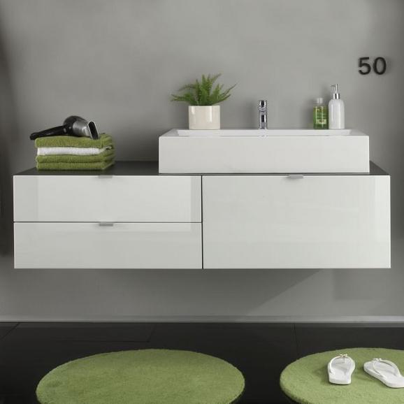 Waschtischunterschrank Beach - Silberfarben/Weiß, MODERN, Holzwerkstoff/Metall (140/35/53cm)