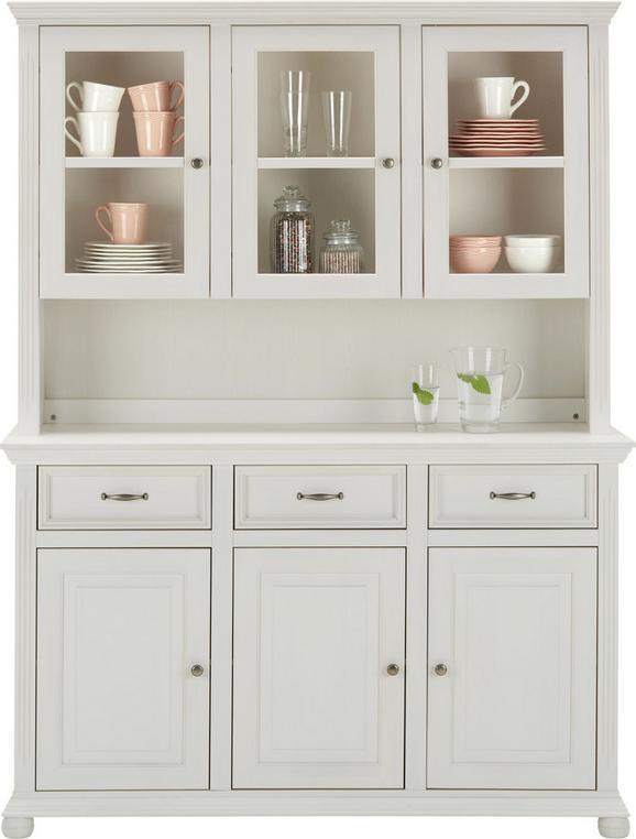 Buffet Weiß Massiv - Weiß, ROMANTIK / LANDHAUS, Glas/Holz (150/200/45cm) - Zandiara