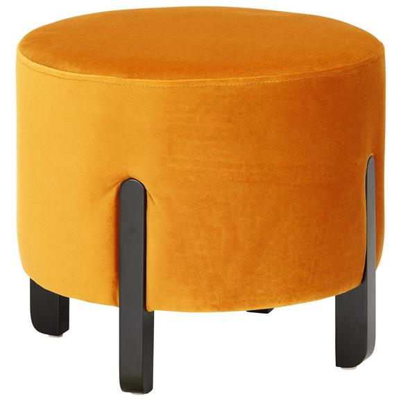 Hocker in Orange Ø ca. 41cm - Schwarz/Orange, MODERN, Holz/Textil (41/38cm) - Modern Living