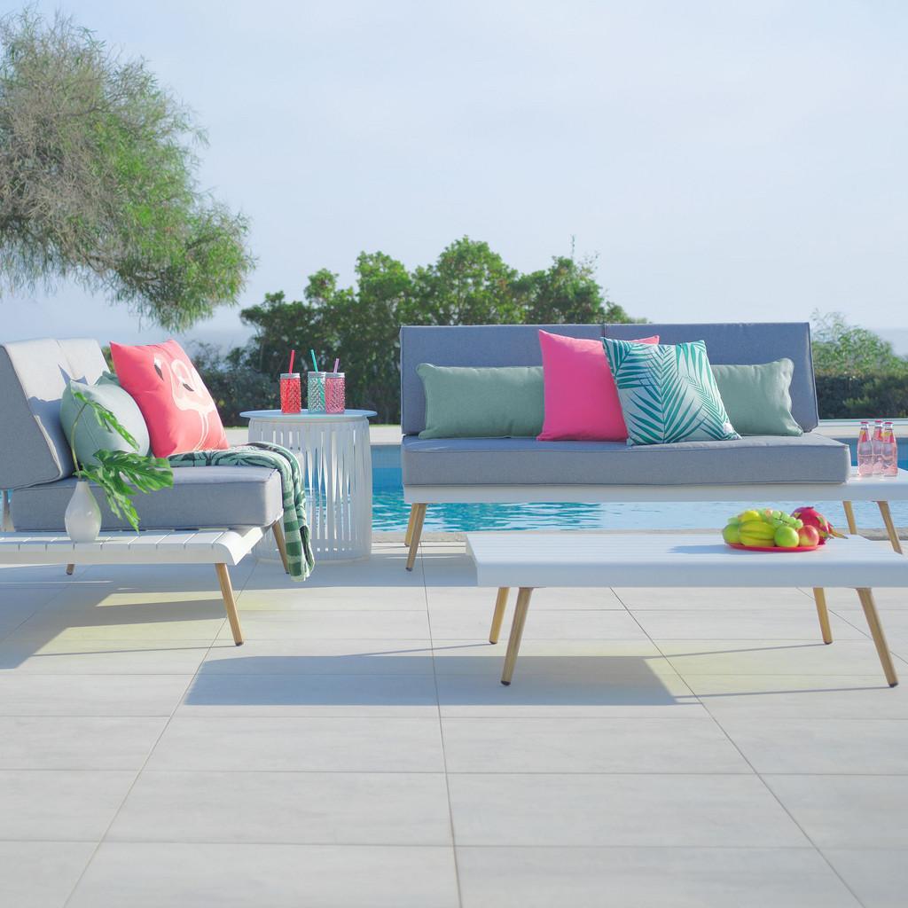 Loungegarnitur Abu Dhabi in Weiß mit Kissen