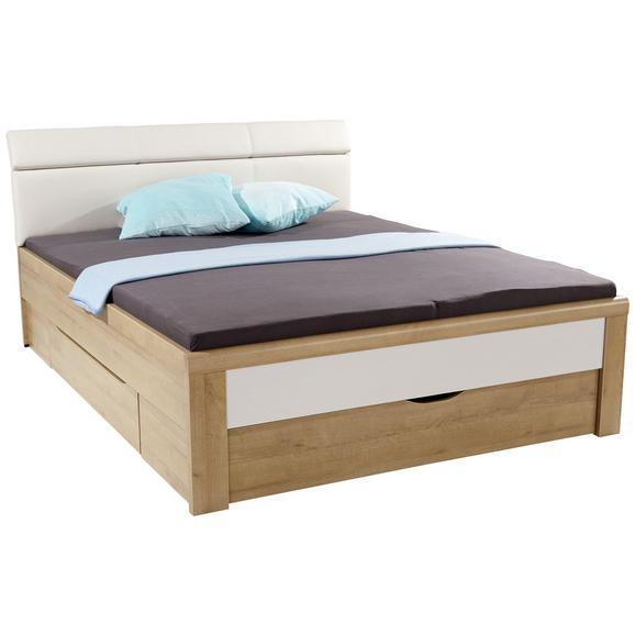 Pat Futon Leoben - gri deschis/culoare lemn stejar, Modern, compozit lemnos/textil (185/105/213cm)