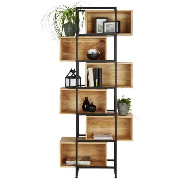 Regal aus Akazie massiv - Schwarz/Akaziefarben, MODERN, Holz/Metall (80/194/30cm) - Modern Living