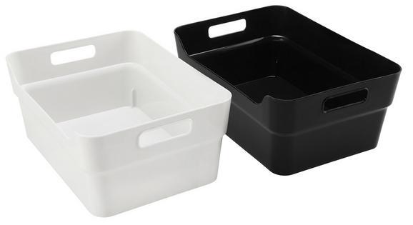 Škatla Linn - A4 - črna/bela, umetna masa (34/24/14cm)