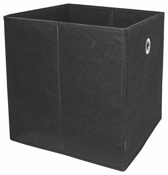 Összecsukható Doboz Cubi - Fekete, modern, Faalapú anyag/Textil (32/32/32cm)