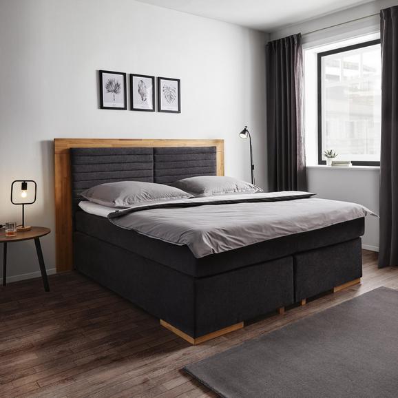 Boxspringbett Melly 180x200 cm inkl. Topper - Dunkelgrau/Eichefarben, MODERN, Holz/Kunststoff (206/210/130cm) - Bessagi Home