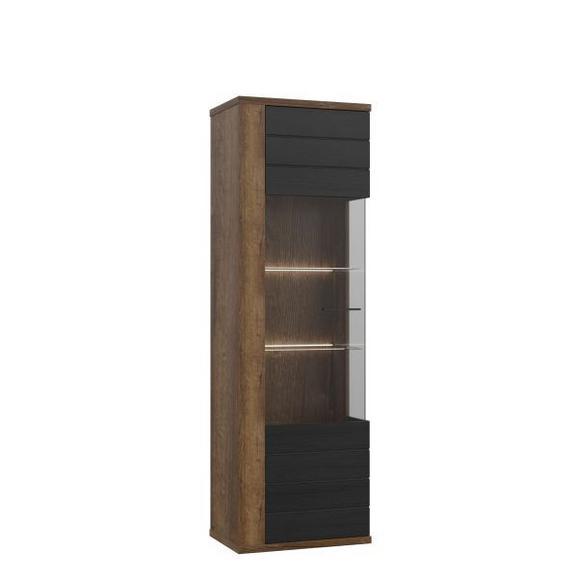 Vitrină Lacjum - culoare lemn stejar/negru, Modern, plastic/sticlă (62,1/197,1/41,6cm)