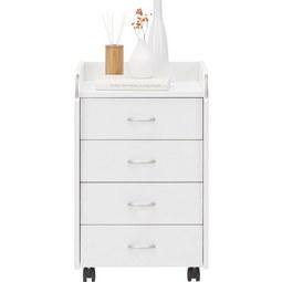 Rollcontainer Pronti in Weiß, 4 Schubladen - Silberfarben/Weiß, Holzwerkstoff/Kunststoff (40/65/36cm) - Mömax modern living