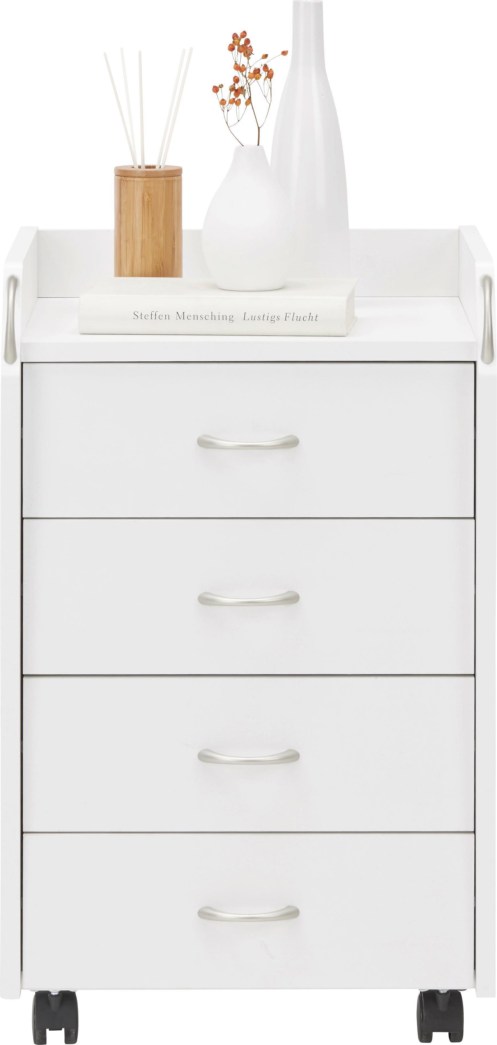 Rollcontainer kunststoff 3 schubladen  Rollcontainer Pronti in Weiß, 4 Schubladen online kaufen ➤ mömax