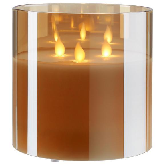 Windlicht Mira in Weiß/champagner - Champagner/Weiß, Glas/Kunststoff (15/15cm) - Mömax modern living