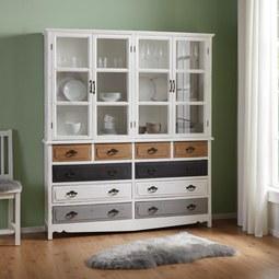 Kredenz Florina - Weiß/Grau, MODERN, Glas/Holz (150/175/32cm) - MODERN LIVING