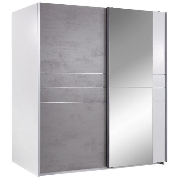 Omara Z Drsnimi Vrati Stripe - aluminij/siva, Moderno, kovina/leseni material (180/198/64cm) - Mömax modern living
