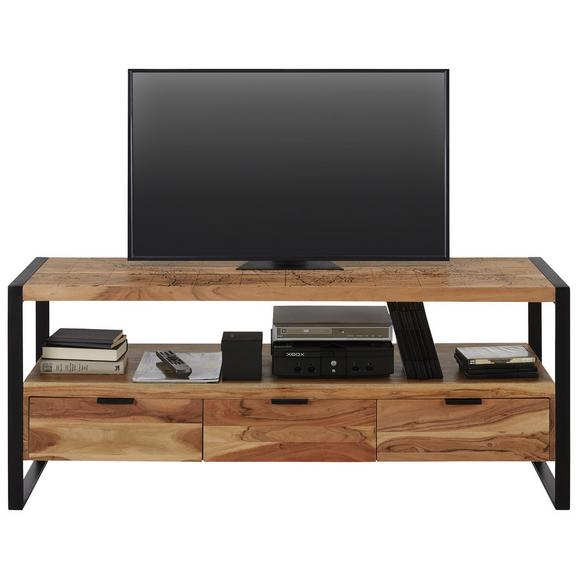 Lowboard aus Akazie massiv - Schwarz/Naturfarben, MODERN, Holz/Metall (150/60/45cm) - Mömax modern living