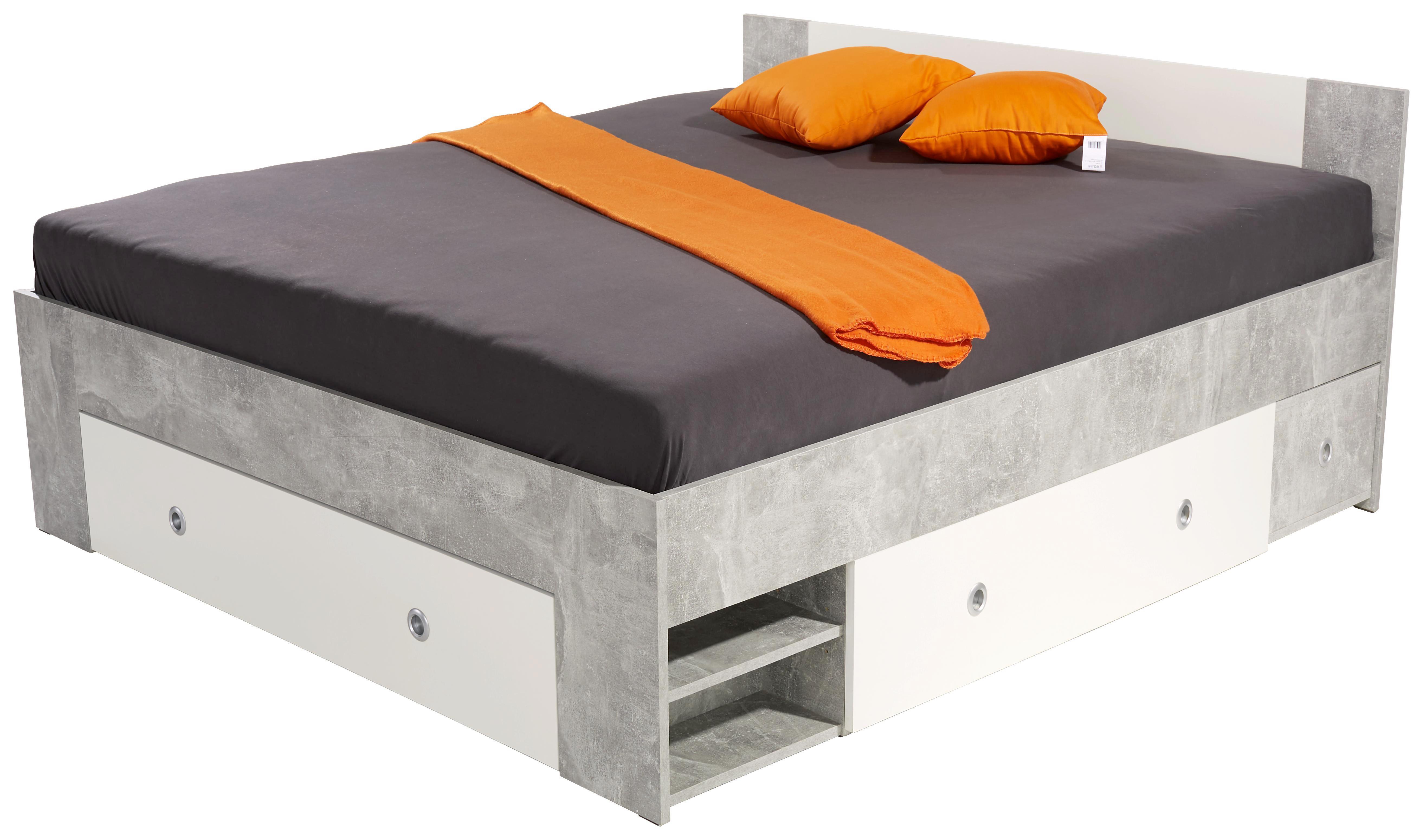 Ágykeret Azurro 160x200cm - világosszürke/fehér, modern, faanyagok (204/75/165cm)