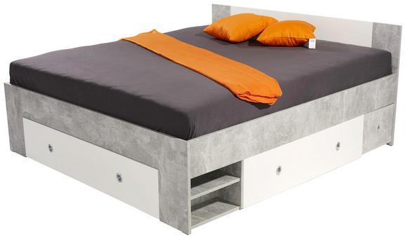 Postelja Azzuro 160 - bela/svetlo siva, Moderno, leseni material (204/75/165cm)