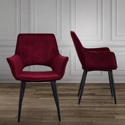 Armlehnstuhl in Rot 'Valentine' - Rot/Schwarz, MODERN, Holz/Textil (66/92/62cm) - Bessagi Home