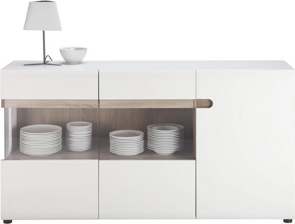 Sideboard in Weiß/Trüffel - Trüffeleichefarben/Schwarz, MODERN, Glas/Holzwerkstoff (164/87/42cm) - BASED