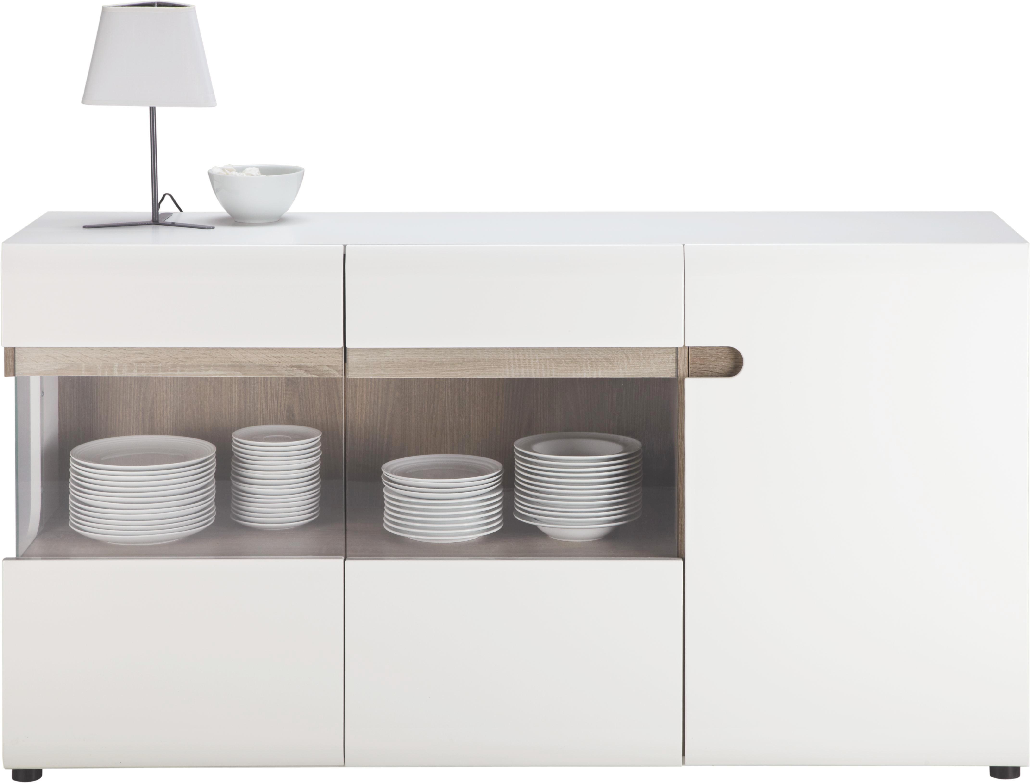 Tálaló Linate - fehér/trüffel tölgy dekor, modern, üveg/faanyagok (164/87/42cm) - BASED