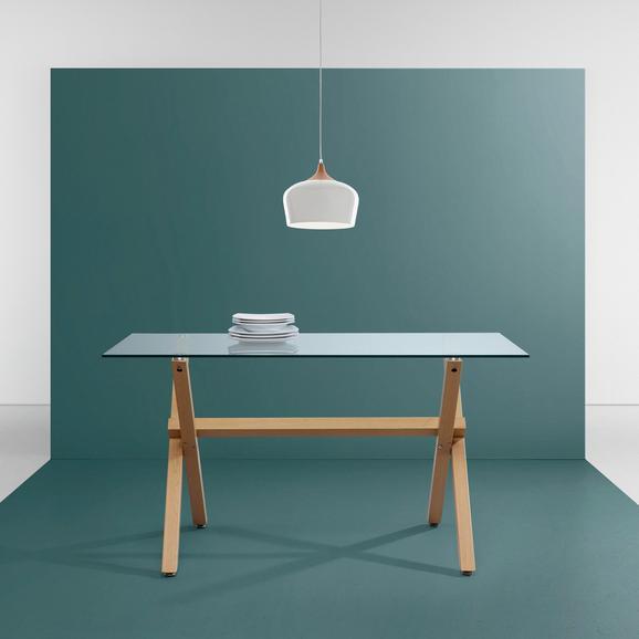Tisch Marie- Luisa ca.140x80cm - Klar/Birkefarben, MODERN, Glas/Metall (140/80/75cm) - Mömax modern living