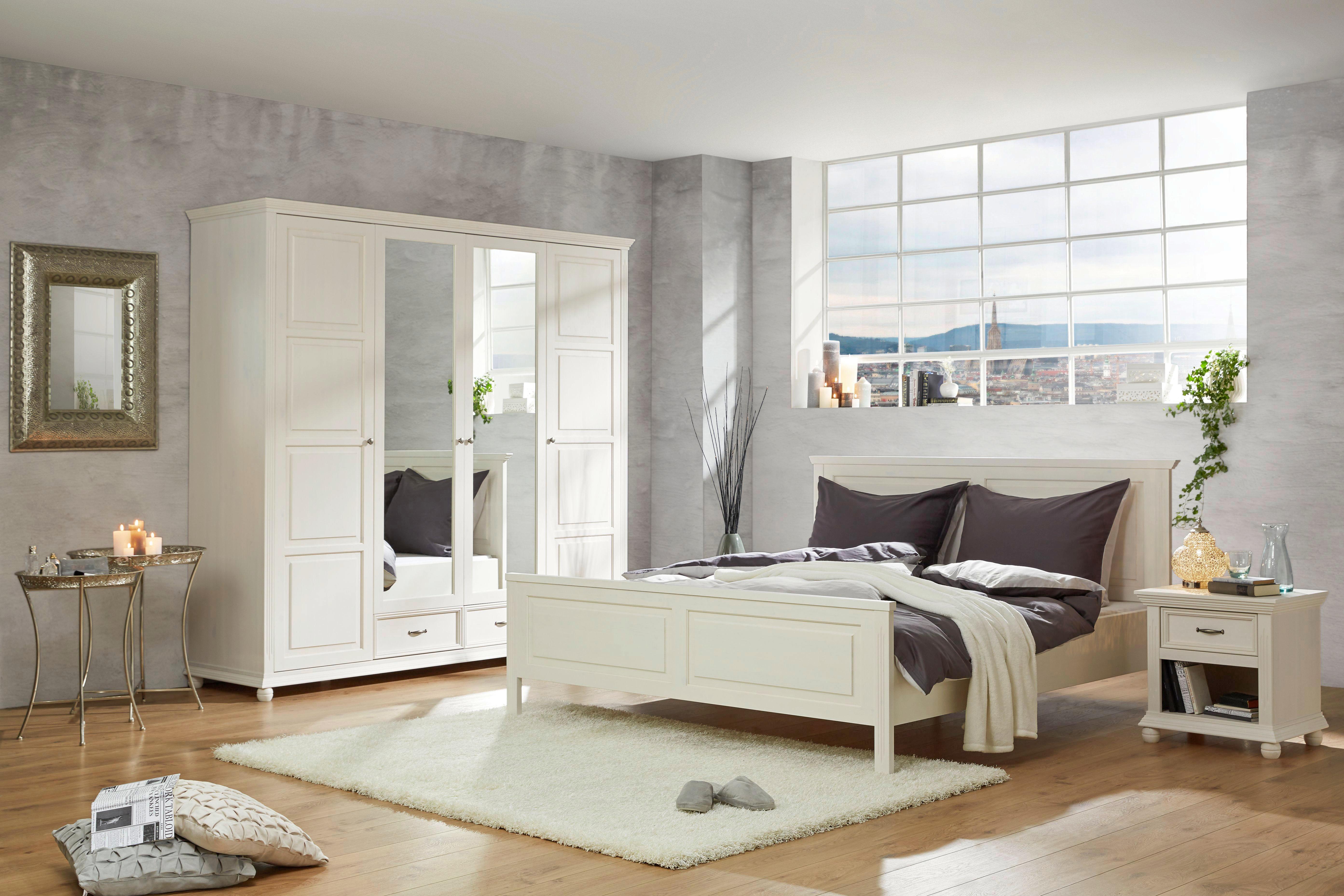 Nachtkästchen in Weiß - Weiß, ROMANTIK / LANDHAUS, Holz/Metall (56/57/45cm) - ZANDIARA