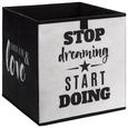 Aufbewahrungsbox Poppi mit Schriftzug - Schwarz/Weiß, MODERN, Karton/Textil (32/32/32cm) - Based