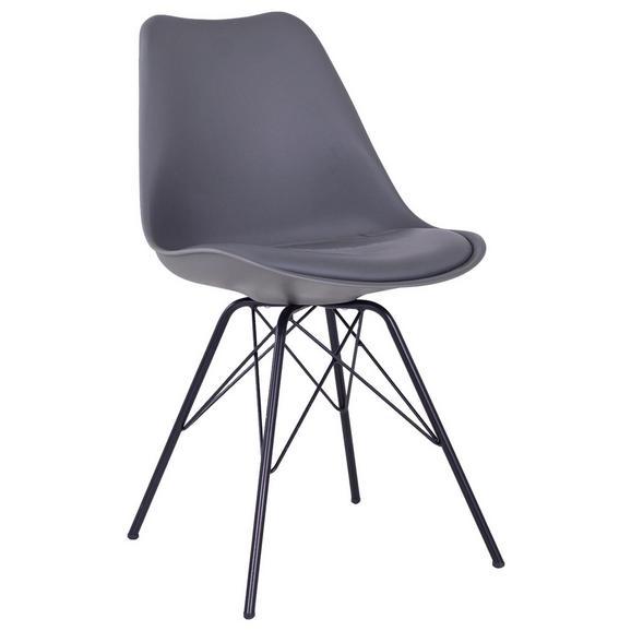Stol Stefan - siva/črna, Moderno, kovina/umetna masa (55,5/86/48cm) - Modern Living