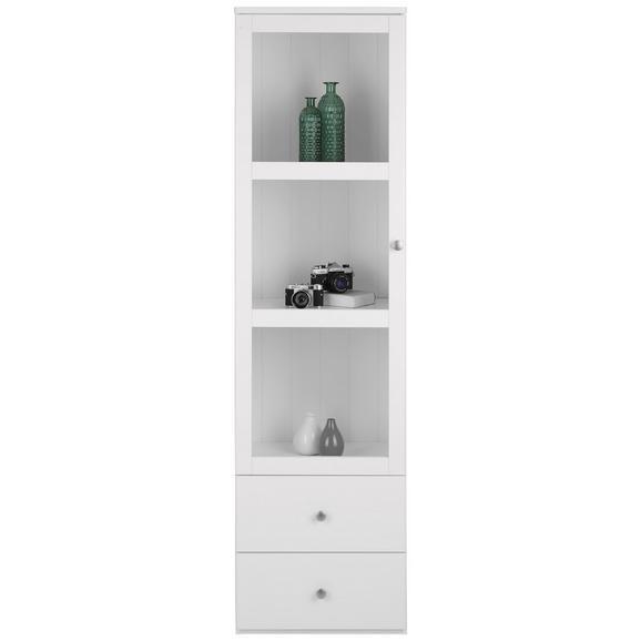 Vitrine aus Kiefer Massiv - Silberfarben/Weiß, ROMANTIK / LANDHAUS, Glas/Holzwerkstoff (50/180/40cm) - Zandiara