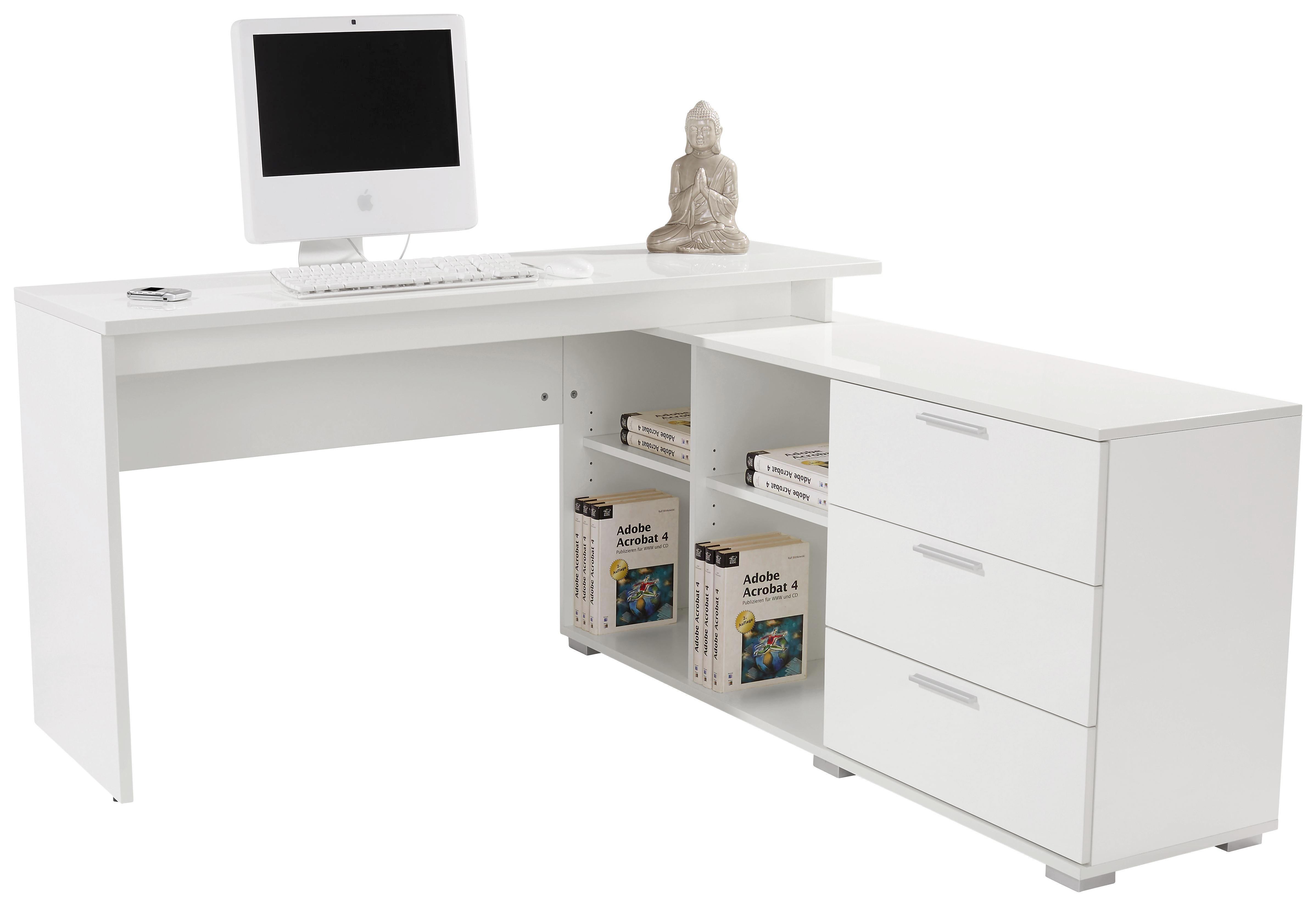 Sarok-íróasztal Wien Ii - fehér, modern, faanyagok (145/75/144,5cm)